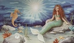 LED Light Up Mermaid - Lighted Canvas Picture Art Home Offic