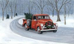 LED Light Up Red Truck w/Tree - Lighted Canvas Picture Art H