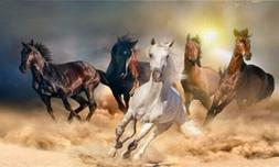 LED Light Up Wild Horses  - Lighted Canvas Picture Art Home