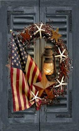 LED Light Up Wreath with Flag - Lighted Canvas Picture Art H
