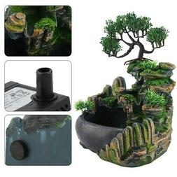 Lifelike Desktop Fountain Waterfall Decor Small Rockery Humi
