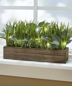Lighted Faux-Grass Planter W/ White Fairy Lights Home Office