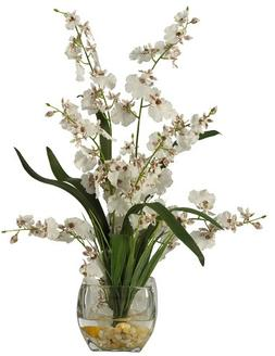 Liquid Illusion Dancing Lady Silk Orchid Arrangement in Whit