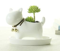 wish you have a nice day Little Dog White Ceramic Plant Flow