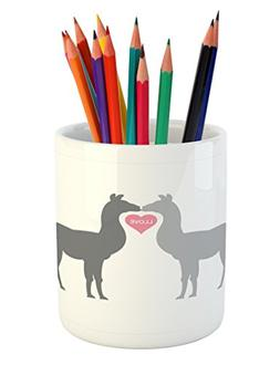 Ambesonne Llama Pencil Pen Holder, Two Animals in Love with