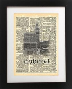 London Big Ben Vintage Dictionary Print 8x10 inch Home Vinta