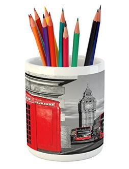 Ambesonne London Pencil Pen Holder, London Telephone Booth i
