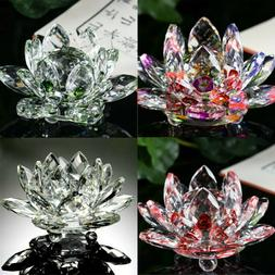 Lotus Crystal Glass Figure Paperweight Ornament Home Office