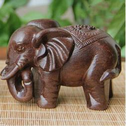 Lucky Elephant Statue Redwood Natural Carved Wooden Animal O