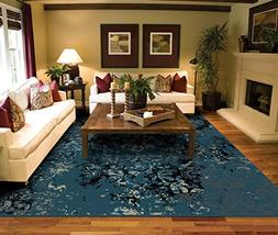 Luxury Distressed Navy Area Rugs for Living Room 5x7 Clearan