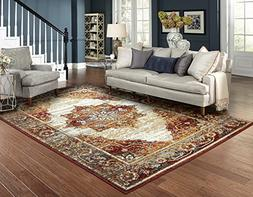 Luxury Distressed Red Area Rugs for Living Room 5x7 Clearanc