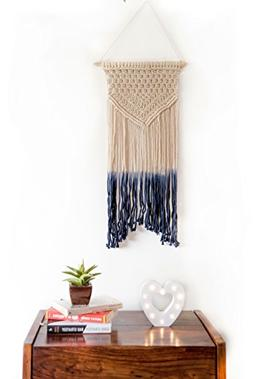Macrame Wall Hanging Blue Woven Large Tapestry - Handmade Bo