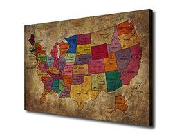 Canvas Wall Art Art US Map Painting Artwork for Office Home