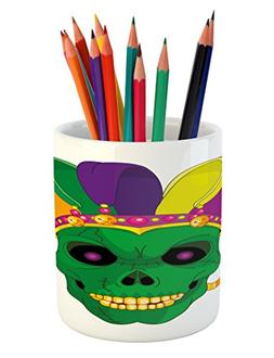 Ambesonne Mardi Gras Pencil Pen Holder, Scary Looking Green