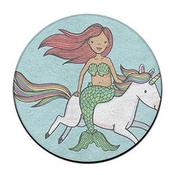 Jianyue Mermaid Girl Riding A Unicorn Doormats,Round Area Fl