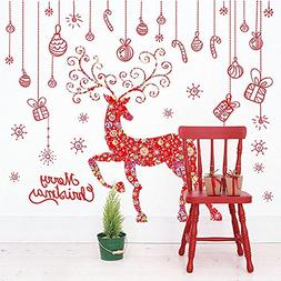 BIBITIME Merry Christmas Red Reindeer Wall Decals Snowflake