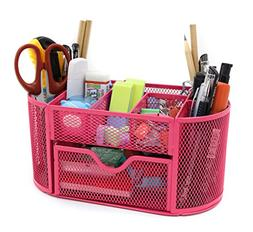 Mesh Desk Organizer Office Supply Caddy Drawer with Pen Hold
