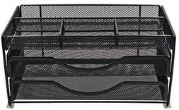 EasyPAG Mesh Desk Supplies Organizer Caddy With 2 Drawer,Bla
