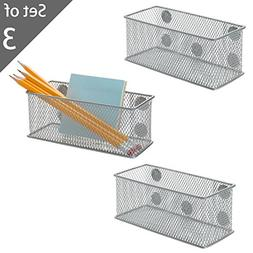 Set of 3 Metal Mesh Magnetic Storage Bins, Office Supplies O