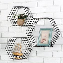MyGift Metal Wire Hexagon Design Wall-Mounted Shelves, Set o