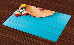 Ambesonne Mexican Place Mats Set of 4, Native Latin Elements