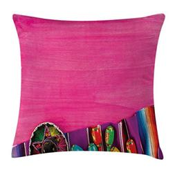 Ambesonne Mexican Throw Pillow Cushion Cover, View of Folklo