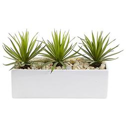 Nearly Natural Mini Agave Artificial Plant in Rectangular Ce