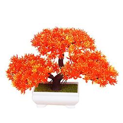 Frjjthchy Mini Artificial Bonsai Tree Plants with Plastic Ce