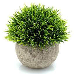 Velener Mini Plastic Fake Green Grass of Plants with Pots fo