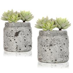 Mini Realistic Artificial Green Succulent Plants in Vintage