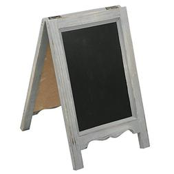 15 inch Mini Tabletop Wooden A-Frame Double-Sided Slate Chal