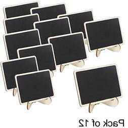 Set of 12 Mini Wooden Framed Table Number Chalkboard Signs w