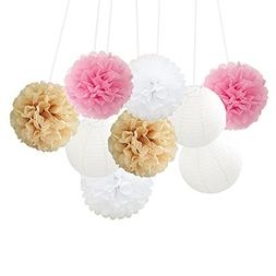mixed fluffy tissue paper pom