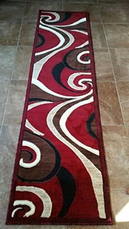 Modern Contemporary Abstract Runner Swirl Carpet King Area R
