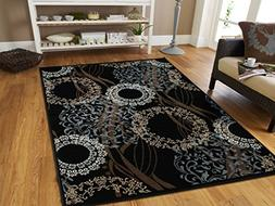 Modern Area Rugs Black 4x6 Rugs for Entryway and Living Room