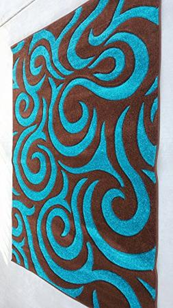 Modern Area Rug Contemporary Geometric Turquoise Brown Beige