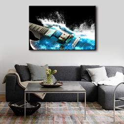 Modern Artwork Guitar In Blue And Waves Wall Art Picture For