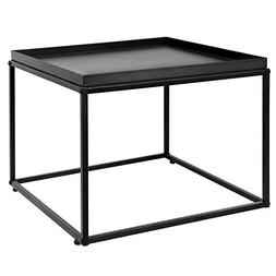 MyGift 24-Inch Modern Black Metal Square Tray Side Table