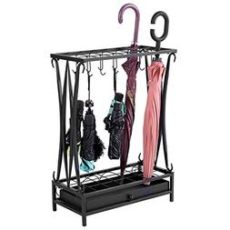 Modern Black Metal Umbrella Stand Holder Storage Rack with R