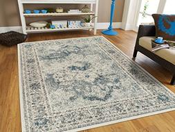 Modern Distressed Area Rug Carpet Vintage Rugs for Living Ro