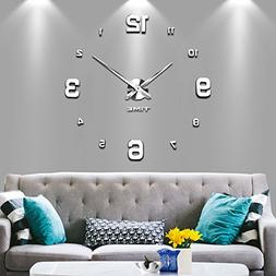 Vangold Modern Mute DIY Frameless Large Wall Clock 3d Mirror