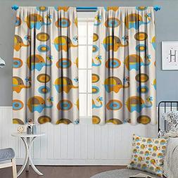 Modern Room Darkening Curtains Abstract Elephant with Butter