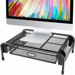 Monitor Stand Riser, Mesh Metal Printer Stand Holder with Pu