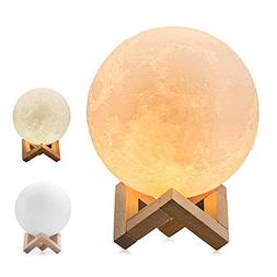 BRIGHTWORLD Moon Lamp, 3D Printing Lunar Lamp Night Light as
