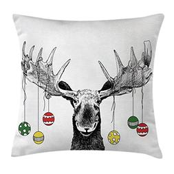 Ambesonne Moose Decor Throw Pillow Cushion Cover, Christmas