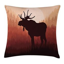 Ambesonne Moose Throw Pillow Cushion Cover, Antlers in Wild