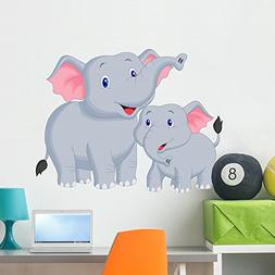 Wallmonkeys Mother and Baby Elephant Wall Decal Peel and Sti