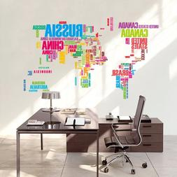 multicolor words world map vinyl office home decor wall stic