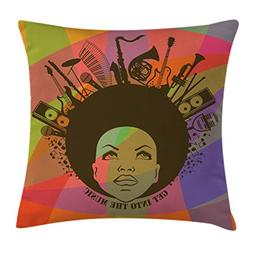 Ambesonne Music Decor Throw Pillow Cushion Cover, Illustrati