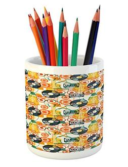 Ambesonne Music Pencil Pen Holder, Pattern with Musical Inst